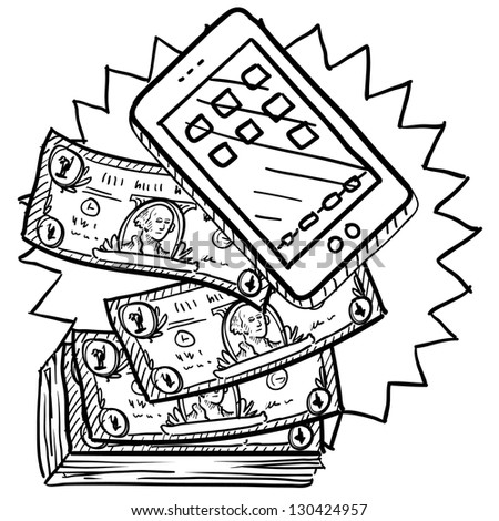 Doodle style cell phones or mobile devices are expensive illustration in vector format.  Includes smartphone and pile of money.
