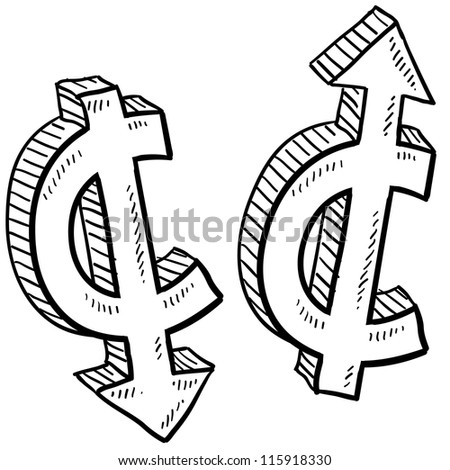 Doodle style Cent international currency symbol with arrows up and down to indicate inflation, deflation, evaluation, or devaluation as economic indicators. Vector format.