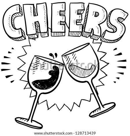 doodle style cheers celebration