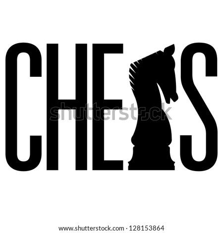 Doodle style chess illustration in vector format.  Includes text, along with integrated knight piece silhouette.
