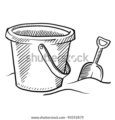 Doodle style children's beach sand castle bucket and shovel in vector format - stock vector
