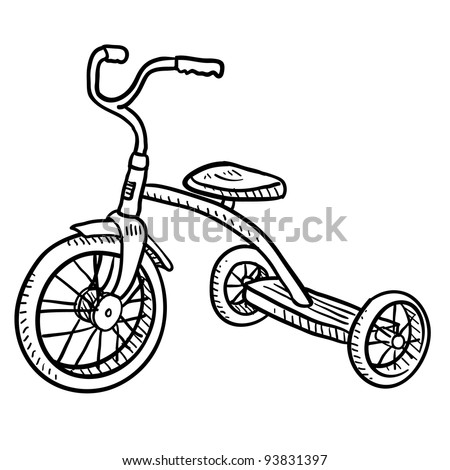 Doodle style children's tricycle sketch in vector format