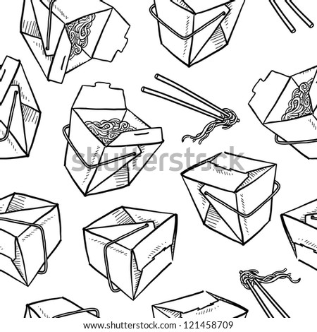 Doodle style Chinese food seamless vector background, including takeout boxes, chopsticks, and noodles.