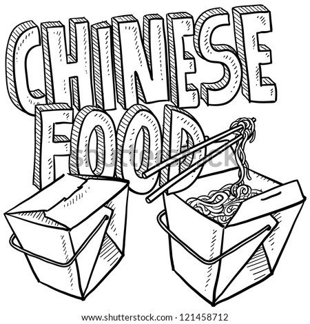 Doodle style Chinese food sketch, including text message, takeout boxes, chopsticks and noodles.  Vector format.
