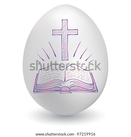 Doodle style Christian cross and bible sketch on decorated holiday Easter Egg in vector format - stock vector