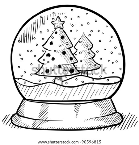 Doodle style Christmas snow globe illustration in vector format