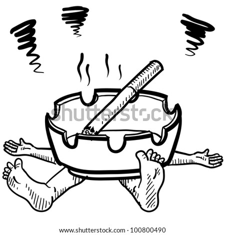 Doodle style cigarette or tobacco addiction illustration in vector format