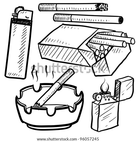 Doodle style cigarette smoking objects in vector format.  Set includes cigarettes, pack, lighters, ashtray, and smoke.