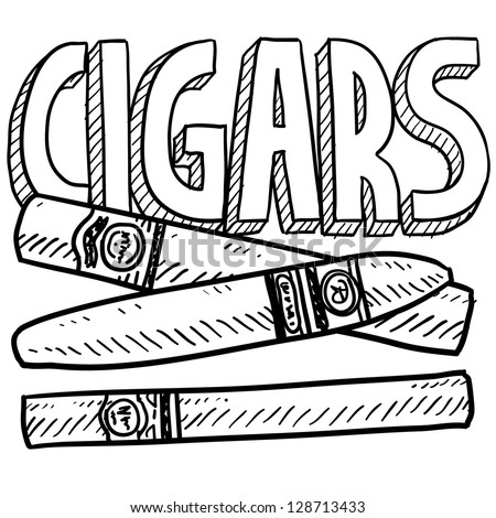 Doodle style cigars or tobacco illustration in vector format.