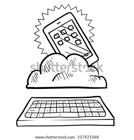 Doodle style cloud computing illustration showing a smartphone residing in the data cloud, acting as a workstation for a keyboard.