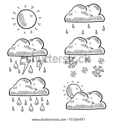 Doodle style clouds and weather illustration in vector format. Set includes rain, shine, snow, storm, cloudy, and lightning.