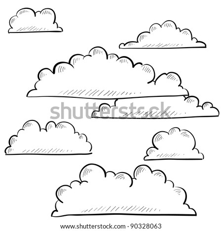 Doodle style clouds or weather vector illustration
