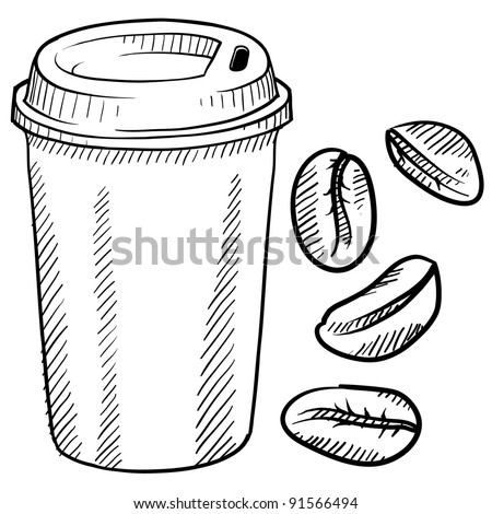 Doodle style coffee bean and travel mug vector illustration