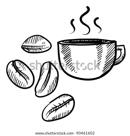 Doodle style coffee bean with cup vector illustration