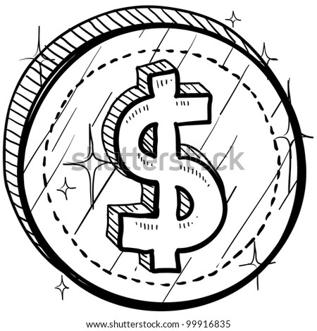 Doodle style coin with currency symbol - American dollar