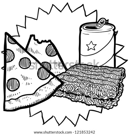 Doodle style college food illustration in vector format.  Includes beer or soda can, ramen noodles, and pizza.