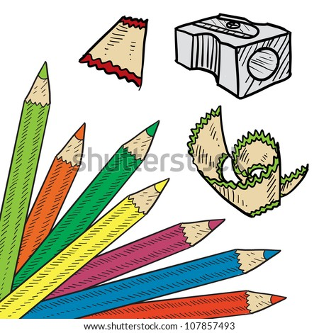 Doodle style colored pencil corner background sketch in vector format. Set includes corner tab, pencil sharpener, and shavings.