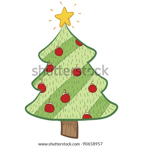 Doodle style colorful Christmas tree in vector format