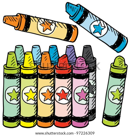 Doodle style colorful crayons sketch in vector format