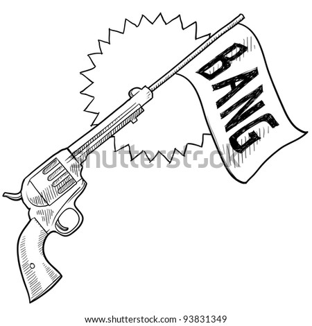 Doodle style comic pistol with bang flag sketch in vector format