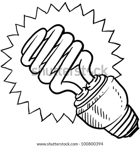 Doodle style compact fluorescent light illustration in vector format
