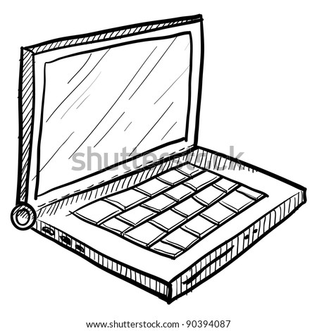 Doodle style computer laptop vector illustration