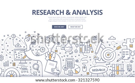 Doodle style concept of general research & analysis, problem solving, collecting data, scientific technologies approach.  Modern line style illustration for web banners, hero images, printed materials