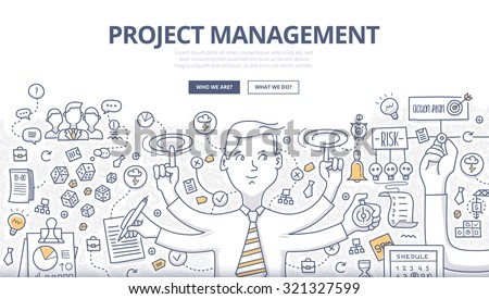 Doodle style concept of project management, organizing, controlling company resources, risks, achieving project goals. Modern line style illustration for web banners, hero images, printed materials