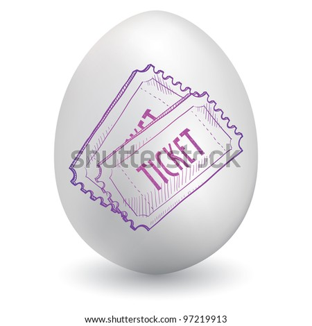Doodle style concert, movie, or event ticket sketch on decorated holiday Easter Egg in vector format