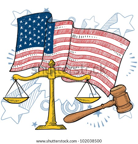 Doodle style courtroom objects including gavel and scales of justice in front of a patriotic American flag background.