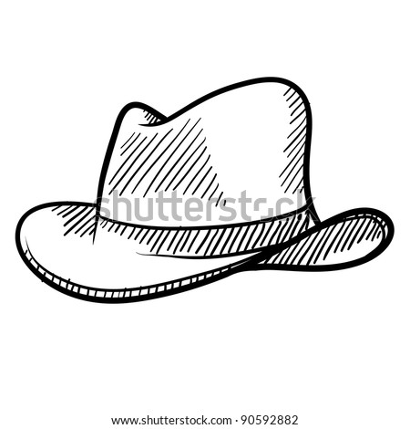 Doodle style cowboy hat or fedora in vector format