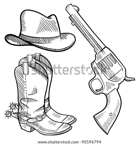 Doodle style cowboy objects illustration in vector format including gun, hat and boots - stock vector