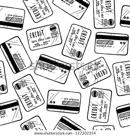 Doodle style credit card seamless vector background ready to be tiled.