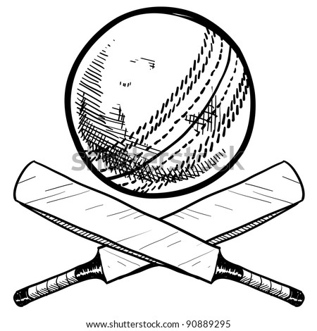 Doodle style cricket sports equipment in vector format including ball and bat