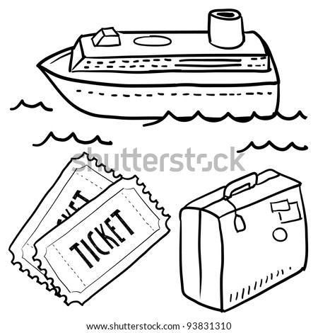 Doodle style cruise or vacation sketch in vector format.  Set includes luggage, cruise ship, waves, and tickets.