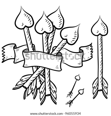 Doodle style Cupid's arrows for a romantic Valentine's Day. Vector file for holidays.