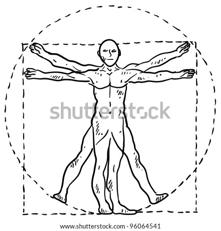 Doodle style Da Vinci human body in motion illustration with circle and square in vector format