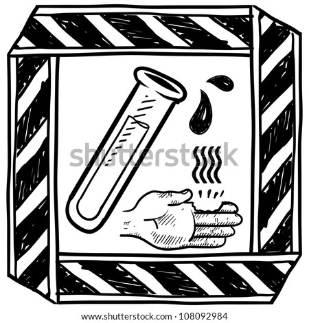 Doodle style danger of chemical spill or burn caution sign sketch in vector format.