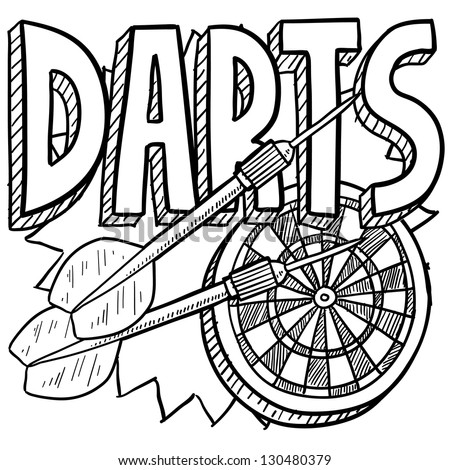 Doodle style darts sports illustration.  Includes text, dartboard, and darts.