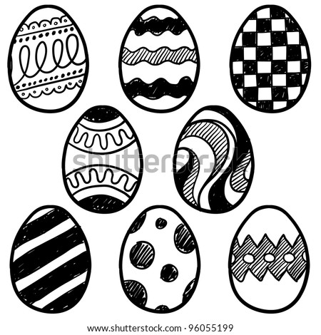 Doodle style decorated easter egg collection.  Each egg is decorated with a different pattern.  Vector file for editing and scaling.