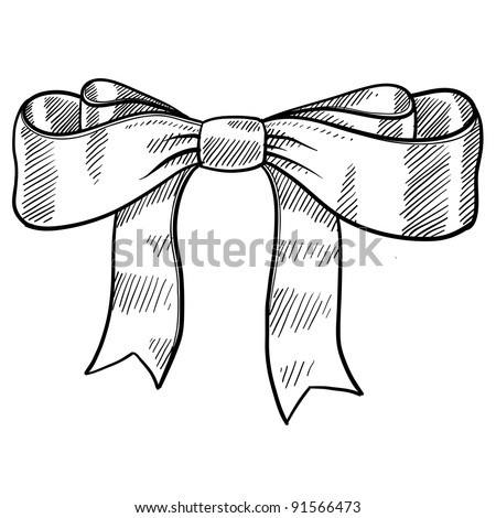 Doodle style decorative ribbon and bow illustration in vector format