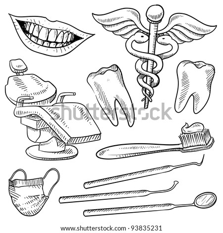 Doodle style dentist equipment sketch in vector format.  Set includes dental chair, picks, mirrors, caduceus, toothbrush, smile, and teeth