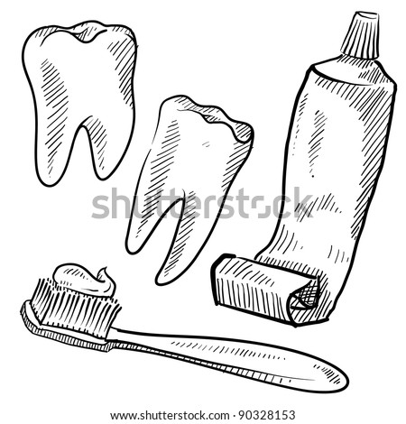 Doodle style dentist vector illustration with teeth, toothpaste, and toothbrush