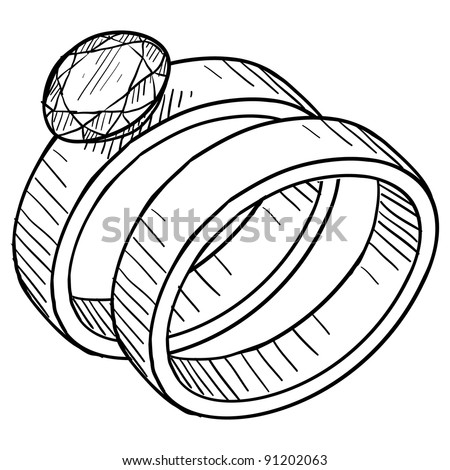 Doodle style diamond wedding ring and engagement ring illustration in vector format suitable for web, print, or advertising use.