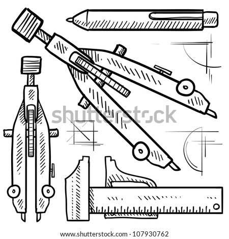 Doodle style drafting tools sketch in vector format. Set includes compass, dividers, mechanical pencil, and ruler.