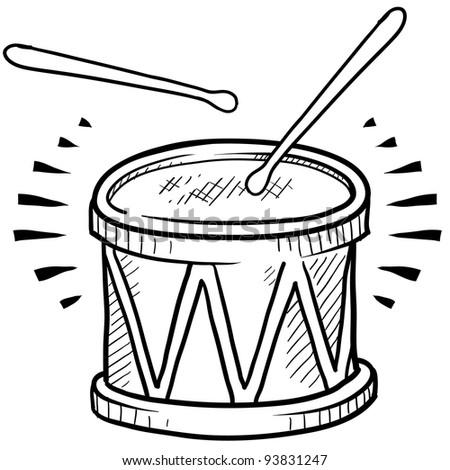 Doodle style drum sketch in vector format