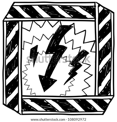 Doodle style electrical hazard or warning sketch in vector format.