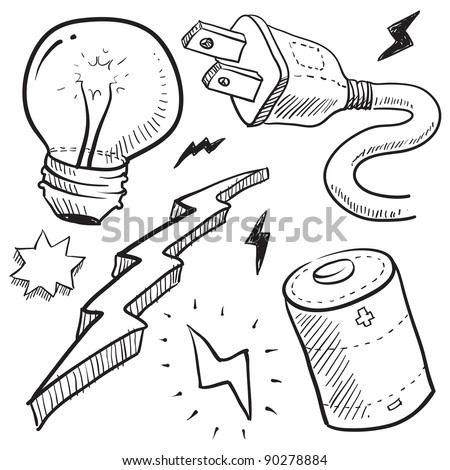 Doodle style electricity or power vector illustration with cord and plug, light bulb, battery, and lightning bolt
