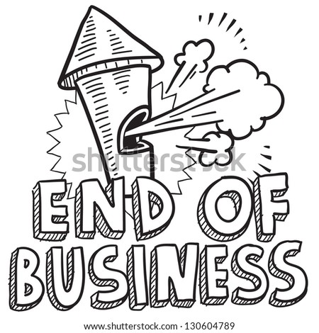 Doodle style end of business illustration in vector format.  Includes text and blowing whistle.