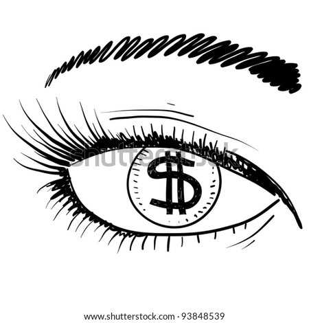 Doodle style eye on the prize sketch in vector format.